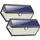Luz Solar Exterior,Trswyop [2 Unidades-128LED-2200mah] Luces Solares Foco Solar Exterior con Sensor de Movimiento, 270°Gran A