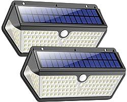 Lampe Solaire Extérieur,【Version étanche Durable】Trswyop 128 LED Lumière Solaire avec Détecteur de Mouvement 2200mAh Sans Fil