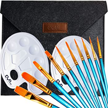 OowolfArtist Paint Brush, 2Mixing Palette, One Entry Pack Premium Nylon Brush for Watercolor, Acrylic and Oil Painting Etc Ideal Brush Set for Beginners, Kids, Artists and Painting Lovers