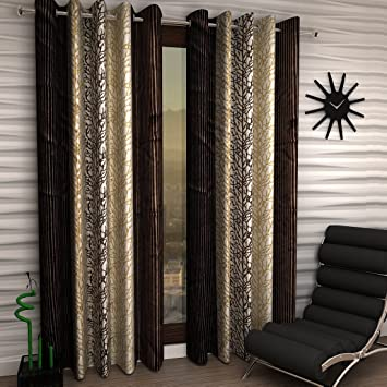 Buy Home Sizzler Abstract Eyelet Polyester Long Door Curtain Set 9ft Of 4  Brown Online At Low Prices In India Amazon. Most Interesting Amazon Living  Room ...