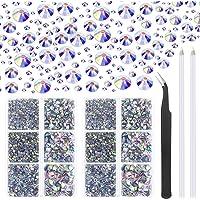 Cridoz Lot de 6040 strass à dos plat en cristal AB Hotfix 6 tailles mixtes pour travaux manuels avec pince à épiler et…