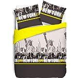 VISION New York jaune Housse de couette et 2 Taies assortis, Coton, 200x200cm