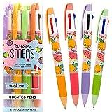 Scentco Tri-Color Smens - Scented Multi Color Pens, Medium Point, Grape, Orange, Watermelon, Apple - 4 Count