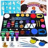 Luckyfine Kit de Pinturas Faciales y Corporales - 16 x Pinturas Corporales, 4 x Pintura luminosa, 2 x Brillos, 2 x Tinte de P
