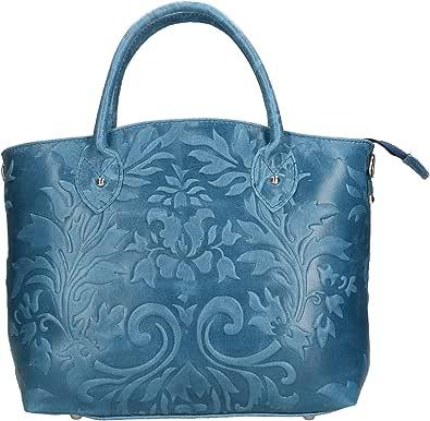 Chicca Borse Handbag Borsa a Mano da Donna in Vera Pelle Made in Italy - 35x28x11 Cm