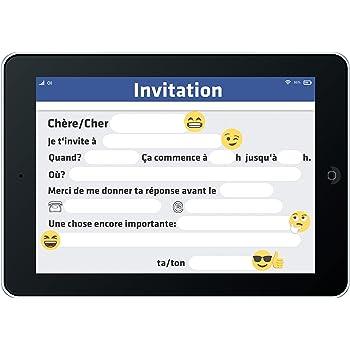12 cartes d invitation anniversaire enfant thème tablette cartes