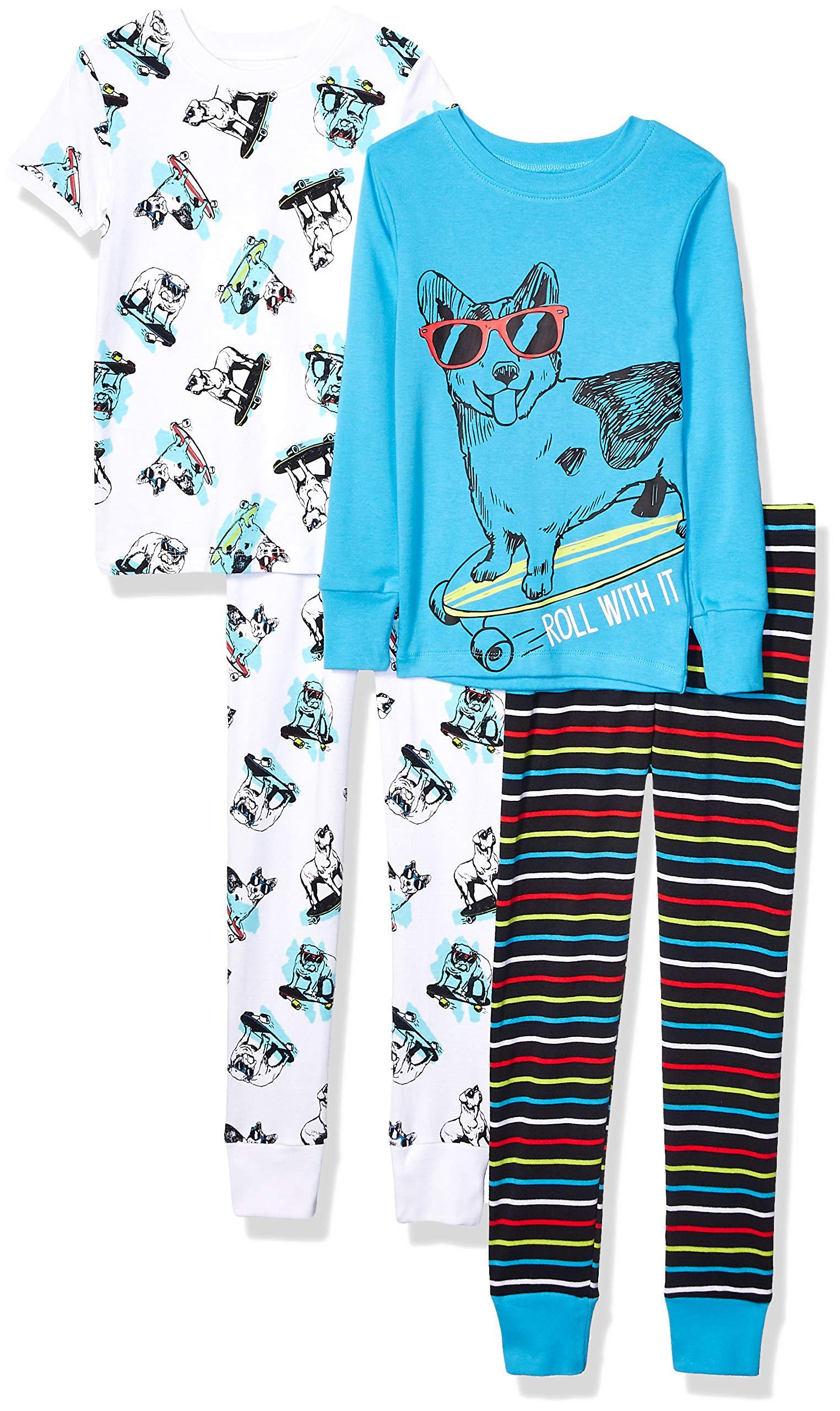 Marca Amazon - Spotted Zebra 4-Piece Snug-fit Cotton Pajama Set Unisex niños 1