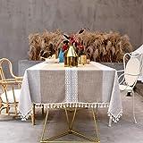 SUNBEAUTY Nappe Rectangulaire Coton Lin Vintage Decoration Table Cloth Tablecloth Rectangle 140x240 cm Tassel Nappe pour Tabl