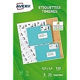 AVERY - Pochette de 120 étiquettes autocollantes pour imprimer ses timbres, Personnalisables et imprimables, Format 63,5 33,9