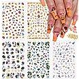 EBANKU 5 Vellen Herfst Esdoornblad Nail Art Stickers Decals, 3D Herfst Esdoornblad Zelfklevende Nagelstickers, Boombladeren N