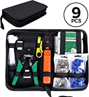 SGILE Pro 9/1 Network Tool Kit, Ethernet LAN Cable Tester Crimper Repair for RJ45/11/12 Cat5/5e with Connector Accessories