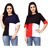 DHRUVI TRENDZ Women Printed Top with Half Sleeves for Office Wear, Casual Wear, Under 399 Top for Women/Girls Top(Red&Pink)