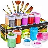 WOSTOO Peinture Acrylique,Acrylique 21 Set Crafts 14 Pots de Couleurs (20ml),Non Toxique Peinture Acrylique Multicolore Peint