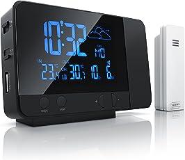 CSL-Computer Funk Wetterstation mit Projektion inkl. Außensensor | sekundengenaue Uhrzeit durch DCF-Signal (Funk-Uhr) | USB-Ladefunktion | 8-Farbige RGB Hintergrundbeleuchtung | schwarz