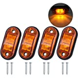Justech 4pcs Side Marker Lights LED Front Rear Lights Lamps Universal Indicator of Position 12V 24V with Amber Bulbs for…