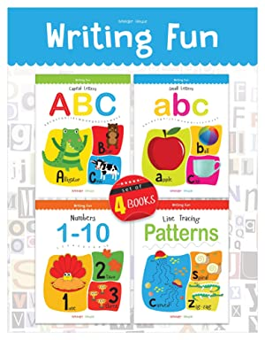 Writing Practice A Set Of 4 Books (Writing Fun Pack): Write And Practice Capital Letters, Small Letters, Patterns and Numbers 1 to 10