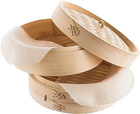 Reishunger Bambusdämpfer, inkl. 2 Baumwolltücher in 2 verschiedenen Größen
