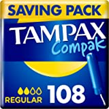 Tampax Compact Regular Tampons with Applicator, Leak Protection and Discretion, Feel Clean, 18-Count (6-Pack)