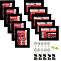 Art Street Synthetic Wood Individual Wall Photo Frame with Hanging Accessories (Black, 4x6 Inches)- Set of 10