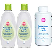 Johnson's Baby Hair Oil 200ml (Pack of 2) & Baby Powder (700g) Combo