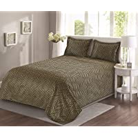 """Cloth Fusion Medley 400TC Polyester Cotton Reversible Bed Cover with 2 Pillow Cover-Double (90""""X100""""), Camel Brown"""