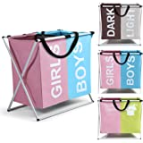 Smile Mom Twin Section Laundry Basket/Bag/Hamper (121 Litre) for Clothes with Foldable Aluminium Frame, Best for Home Bathroo