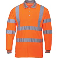 MyShoeStore Hi Viz Vis High Visibility Polo Shirt Reflective Tape Safety Security Work Button T-Shirt Breathable…