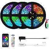 15 Metri Bluetooth Striscia LED,OxyLED Musicale Cambio di colore 5050 RGB con Telecomando,450 LED Striscia LED,Controllo App