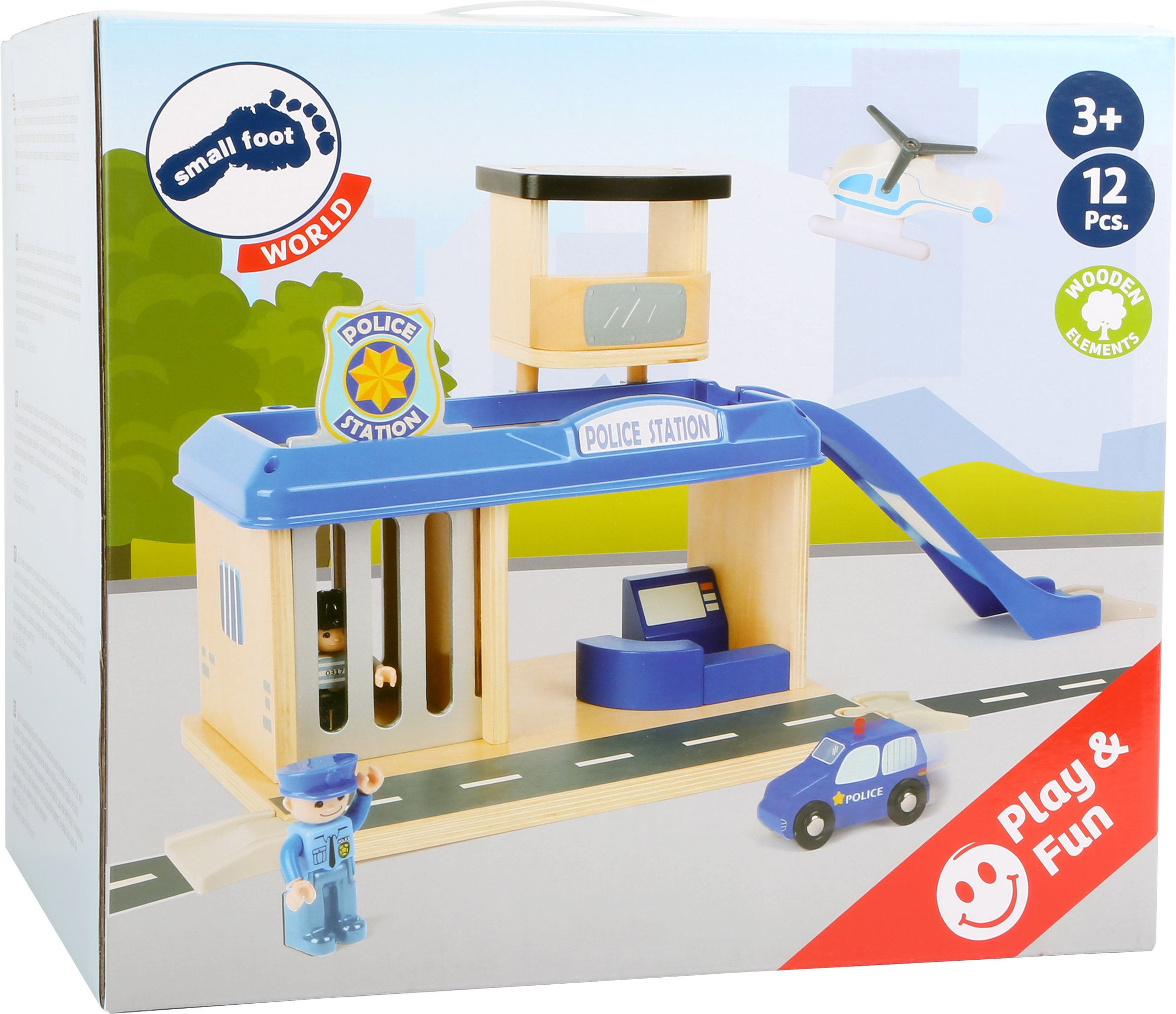 small foot 10797 Police station with accessories, including a policeman, robber, helicopter and car, from 3 years Small Foot World An impressive police station in a strong, vivid police blue Many extras like a policeman, a robber, a car and a helicopter Compatible with all common railway brands 7