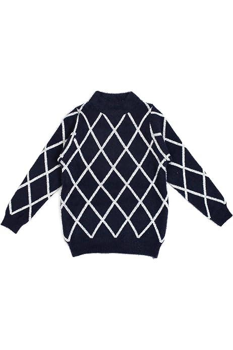 Bienzoe Little Boys Long Sleeve Crew Neck Jacquard Pattern Pullover Sweater