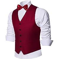 Coucoland - Gilet da uomo con scollo a V, smanicato con 5 bottoni, Slim Regular Fit, abbigliamento per tutti i giorni…