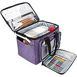 ProCase Sac Tricot Rangement pour Le Stockage des Laines, Crochets, Aiguilles et Accessoires, Organisateur avec Séparateur In