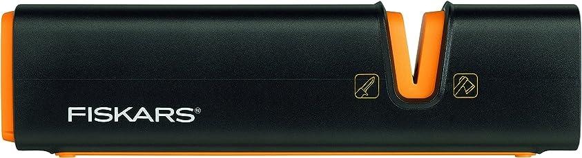 Fiskars Axt- und Messerschärfer, Keramik- Schleifkopf/Gehäuse aus glasfaserverstärktem Kunststoff, Schwarz/Orange, Xsharp, 1000601