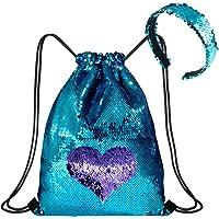 WolinTek Mermaid Borsa con Paillettes Zaino Borsa Paillettes Reversibili Glitter con Fascia,Escursionismo Borsa a…