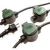 Verlengkabel voor buiten, 10 m, met 3 stopcontacten, IP44 verlengkabel brengt onopvallende stroom in de tuin, robuuste rubber