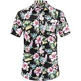 JEETOO Men's Flowers Casual Aloha Hawaiian Shirt Short Sleeve