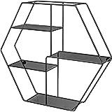 SONGMICS Zeshoekige wandplank, metalen wandplank met 4 planken, 60,5 x 12 x 53 cm, 2 wandschroeven meegeleverd, decoratieve w