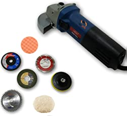 ToolsCentre Universal Angle Grinder/Polisher Machine, Grinding Accessories, Power 1020W (Blue, 4-Inch)