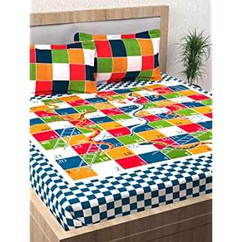 Story@Home Premium Vintage 152 TC Cotton Double Bedsheet With 2 Pillow  Covers   Snake And Ladder, Multicolour