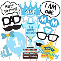 Wobbox First Birthday Party Props for Birthday Events (Blue)
