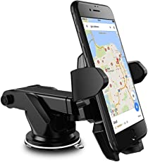 Universal Car Mobile Holder/Long Neck One Touch Car Mount 360° Rotation with Ultimate Reusable Suction Cup for Car Dashboard/Car Windshield/Desktop