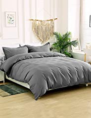 Reindeer 3 Pieces Duvet Cover Queen - Soft Brushed Microfiber Queen Size Comforter Set Breathable Bedding Set with Zipper Closure & Corner Ties