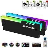EZDIY-FAB RGB Indirizzabile DDR Memoria RAM Raffreddamento Dissipatore con Controller (Compatibile con ASUS Aura SYNC,GIGABYTE RGB Fusion e MSI Mystic Light SYNC)-2Pack-Nero