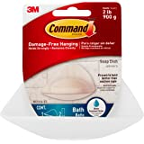 Command Plastic, Holds Bath Soap Water-Resistant Adhesive, 2 lb Capacity, 1 Dish, 2 Strips, BATH14-ES, Clear Frosted