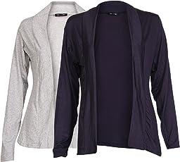 Ten on Ten Women's Cotton Pair of Grey/ Navy Blue Long Shrug (NJ-GRYNBLU_Grey, Navy Blue)
