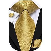 Dubulle Mens Ties Set Woven Paisley Necktie Handkerchief Cufflinks Wedding Business Tie