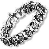 Urban Jewelry - Bracciale da uomo in acciaio INOX, con mini teschi, 22 cm, colore: Argento