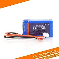 ACME AA0350-X Lithium-Polymer-Akku, 1000mAh, 7,4V, wiederaufladbar (1000mAh, Lithium-Polymer (LiPo), 7,4V, blau)
