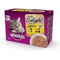 Whiskas Pure Delight in Gelatina Selezione Delicata, 1+ Anni, 12 x 85 g, Cibo per Gatto, 4 Confezioni (48 Bustine in…