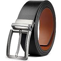 BESTKEE Cintura da uomo in pelle, da uomo, con fibbia ritorta larghezza 3,5 cm